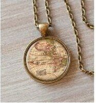 World map necklace old map map necklace vintage world map art world map necklace old map map necklace vintage world map art glass gumiabroncs Choice Image