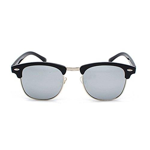 Blanc UV400 polarisés de Femmes Argent rétro hommes Lunettes demi avec soleil Aiweijia monture verres wZOp4xqn