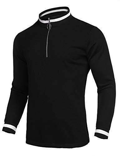 - COOFANDY Men's Quarter Zip Sporty Pullover Lightweight Long Sleeve Sweatshirt Black Small