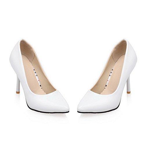 VogueZone009 Damen Lackleder Stiletto Spitz Zehe Rein Ziehen auf Pumps Schuhe Weiß