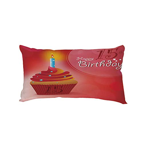 iPrint Polyester Car Neck Pillow,15th Birthday Decorations,Yummy Graphic Cupcake with Candlestick Stars Warm Ceremony,Red Orange Blue,13.7x7.8Inches,for Car Designed,Travel Car Seat & -