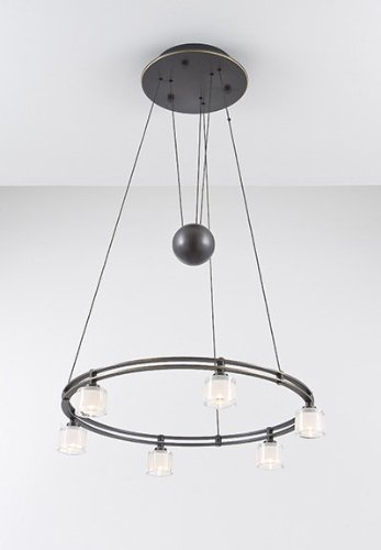Holtkoetter 5556 HBOB G5011 Halogen Low-Voltage Contemporary Chandelier, 6-Light, Hand-Brushed Old Bronze with Krystall Round Glass, 21.75