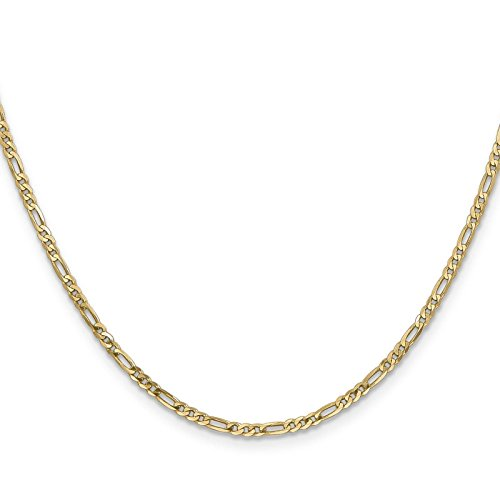 14k Yellow Gold 2.0mm Polished Flat Figaro Chain Necklace 30'' by Venture Jewelers