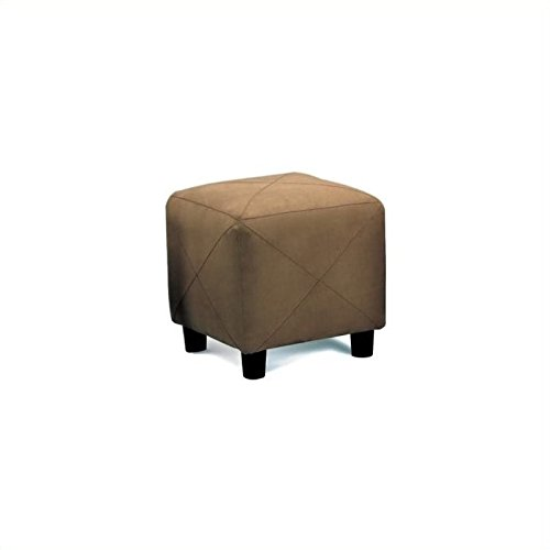 Microfiber Footstool - Mocha Microfiber Cube Foot Stool by Coaster