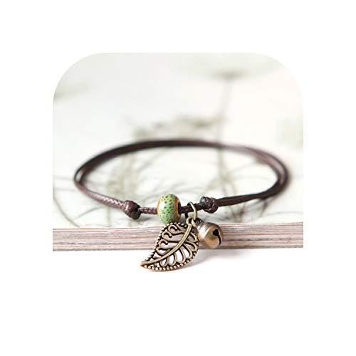 tthappy76 Ceramic Beaded Bracelet Anklet Couple Girlfriends Bohemian Retro First Leaf Jewelry for Women Gift,Green
