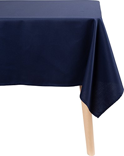 (KAF Home Chateau Easy-Care Rectangle Cloth Tablecloth | 70 x 84 Inch Wrinkle Resistant Tablecloth | Perfect for Banquets, Buffet Tables, Parties, Holidays, Weddings, and Any Entertaining Event - Blue )