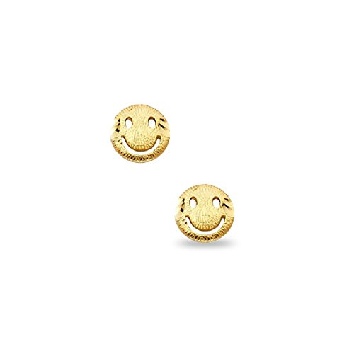 (Smiley Face Stud Earrings Solid 14k Yellow Gold Round Happy Face Studs Polished Small Cute! 7 x 7 mm)