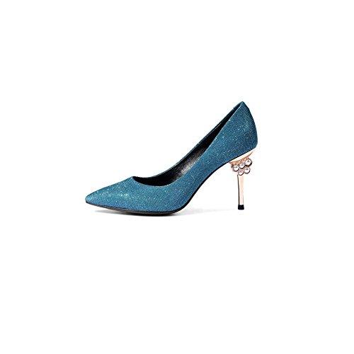 DALL Stable 8 Été Haut Confortable Hauts 5 Tête Couleur Printemps 673 4 Femmes Ly taille 5 EU De Et Pour Escarpins Silver Chaussures Talons 37 Cm Bleu Sandales UK Et Pointue 5 CN37 XaqTrXw