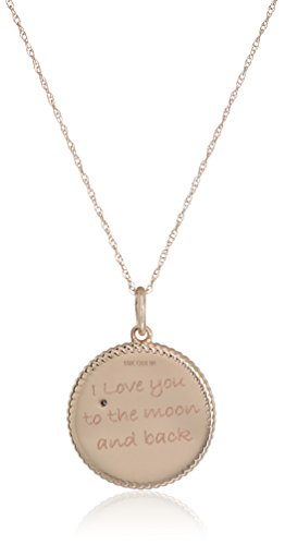 10k Rose Gold Diamond Accent ''I Love You To The Moon and Back'' Pendant Necklace, 18'' by Amazon Collection (Image #2)'