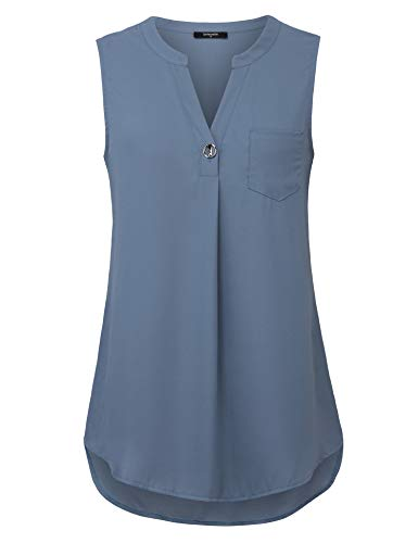 (Lotusmile Chiffon Tank Tops for Women, Ladies Summer Casual Notch V Neck Pleated Ruched Tunic Shirts Button Down Sleeveless Work Wear Clothes Basic Flowy Blouses for Women Fashion 2019,Blue Grey XL)