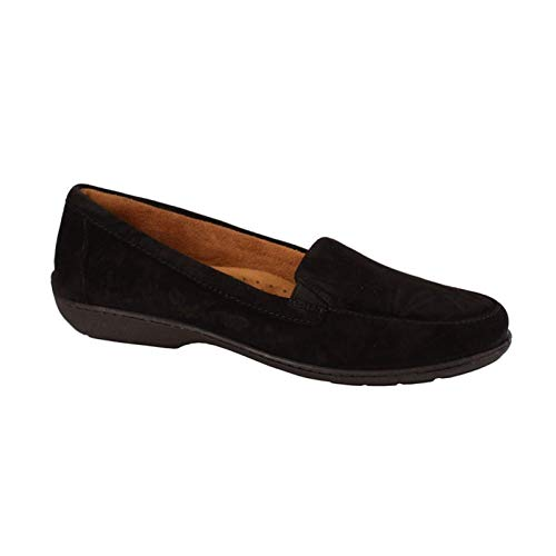 SOUL Naturalizer Women's Kacy Loafer Flat, Black Suede, 7 W - Naturalizer Loafers Suede