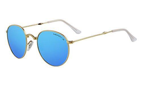 MERRYS Men Retro Folded Polarized Sunglasses Women Classic Oval Sunglasses S8093 Gold&blue