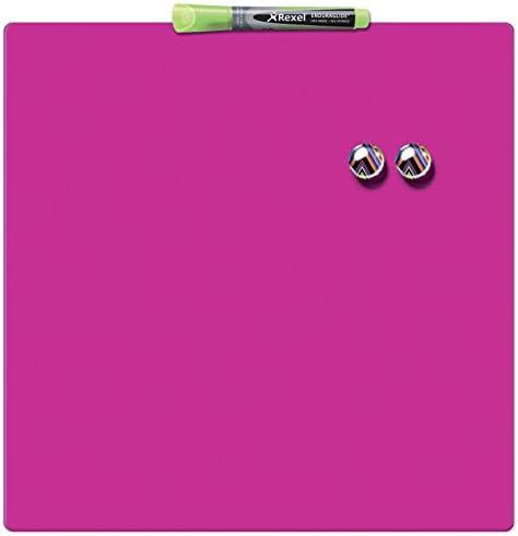 Rexel Magnetische, Trocken Abwischbare Tafel, Rahmenloses Quadrat, 360 x 360 mm, Inkl. Marker, Magneten und Montage-Kit, Pink, 1903803