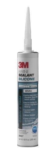3M Marine Grade Silicone Sealant White, 08027, 1/10 ()