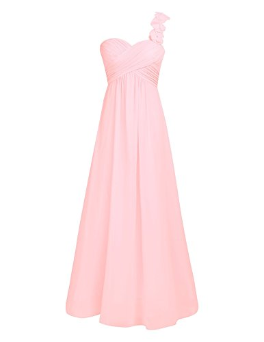 Flowers Prom Long YiZYiF Dress Pink One Women's with Pearl Shoulder Chiffon wXf8Rfq