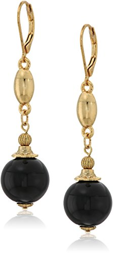 1928 jewelry 14k gold dipped genuine semi precious gemstone black onyx round drop earrings 14k Gold Onyx Drop Earrings