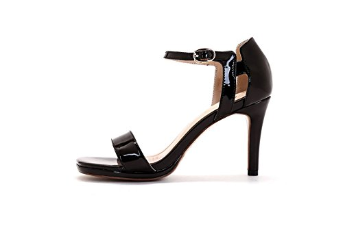 Patent Womens Leather Sandals Open Black AmoonyFashion Buckle Heels Solid Toe High XR14dq
