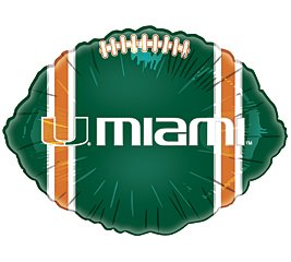 Mayflower Distributing - Miami Hurricanes Foil Football Balloon - , 18