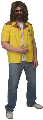 The Big Lebowski Team Dude Bowling Gold Button-Down Shirt Costume (Adult (The Dude Abides Costume)