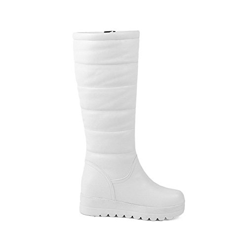 AmoonyFashion Women's Heels Boots Toe Solid Kitten Closed Round White qqdxrB