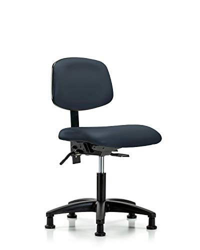 LabTech Seating LT44209 Desk Height Chair, Vinyl, Nylon Base - Casters, Imperial Blue