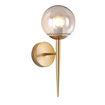 BOKT Glass Ball Wall Sconces Antique Gold Material Body Wall Mounted Light 1 Light Mid Century Modern Industrial Wall Light