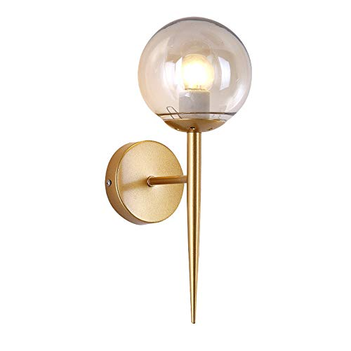 BOKT Glass Ball Wall Sconces Antique Gold Material Body Wall Mounted Light 1 Light Mid Century Modern Industrial Wall Light