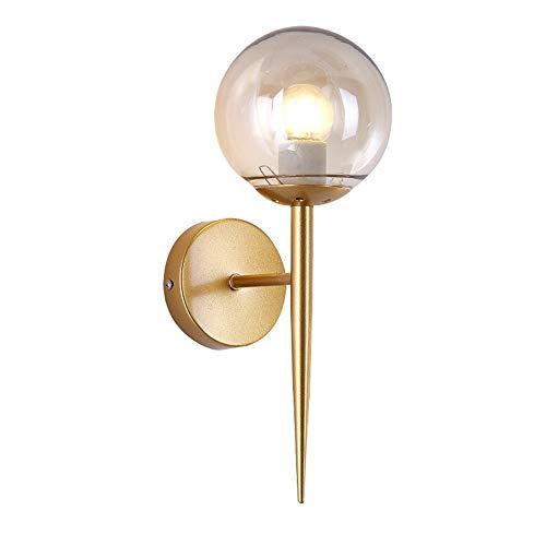 Glass Light Ball Gold (BOKT Glass Ball Wall Sconces Antique Gold Material Body Wall Mounted Light 1 Light Mid Century Modern Industrial Wall Light)