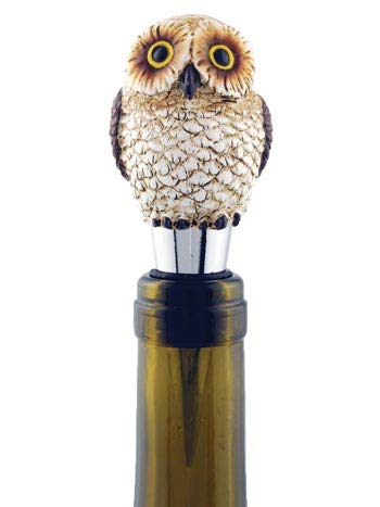 Owl Figure Figurine Wine Stopper Bottle Topper, Collectible Lodge Cabin Decor, 4