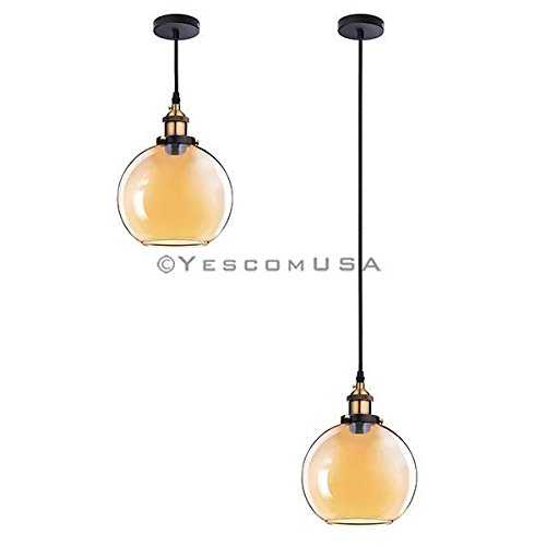 7.9'' Vintage Industrial Classic Amber Glass Pendant Light Ball Shade For Kitchen Living Room Home Restaurant Spa Hotel Coffee Shop Bar by Generic (Image #2)