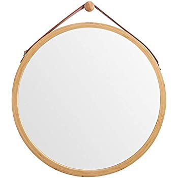 WILSHINE Round Wall Hanging Mirror for Bathroom Entryway Living Room with Natural Bamboo Frame Lightweight with Faux Leather Strap, 17.7