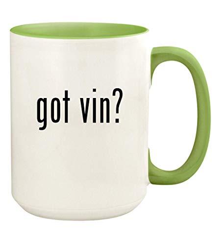 got vin? - 15oz Ceramic Colored Handle and Inside Coffee Mug Cup, Light Green