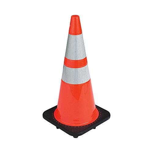 "28"" RK Orange Safety PVC Traffic Cone, Black Base with Two R"