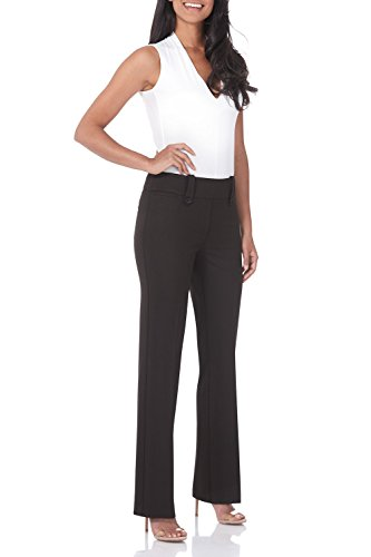 Rekucci Women's Smart Desk to Dinner Stretch Bootcut Pant w/Tummy Control (4SHORT,Coffee Mix)