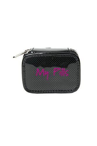 Miamica Trendy Black Patent Polka Dot Design Pill Case Weekly Vitamins Travel Organizer Box