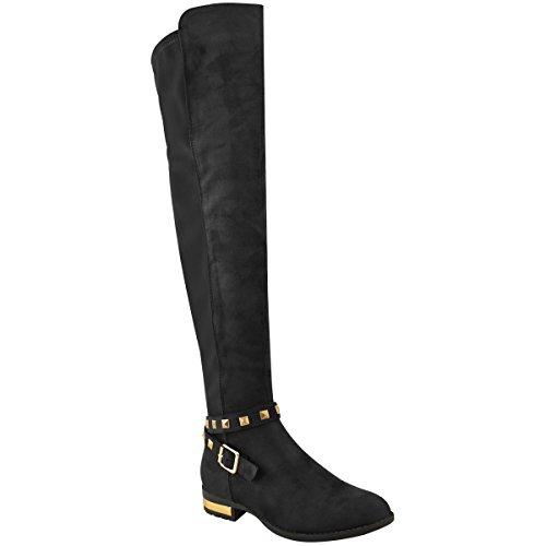 Mode Dorstige Dames Bezaaid Kniehoge Goudkleurige Hak Platte Stretchy Laarzen Maat Zwart Faux Suede