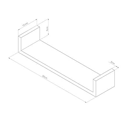 Color Blanco Ceniza Par de estantes en U Modelo Iacopo de MDF Mobili Fiver 50 x 12 x 9 cm