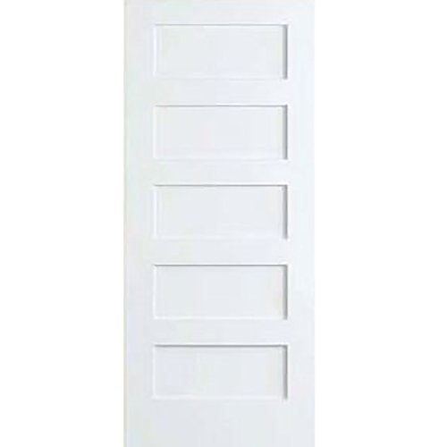 5-Panel Door, White Primed Shaker 80 in. x 1-3/8 in. (28x80) (White Flat Door Panel)