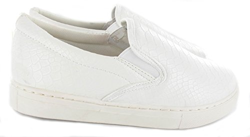 WOMENS SLIP Croc SKATER LADIES TRAINERS PLIMSOLLS SIZE FLAT ON NEW SNEAKERS White PUMP SHOE dqE0Od