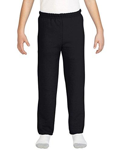Girls Open Bottom Sweatpant - Gildan Kids' Little Elastic Bottom Youth Sweatpants, Black, Small