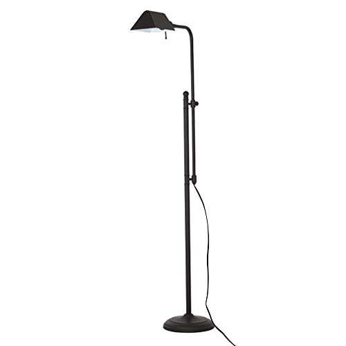 Ravenna Home Metal Adjustable Living Room Standing Pharmacy Floor Lamp With LED Light Bulb - 49.75 to 62 Inches, Dark Bronze