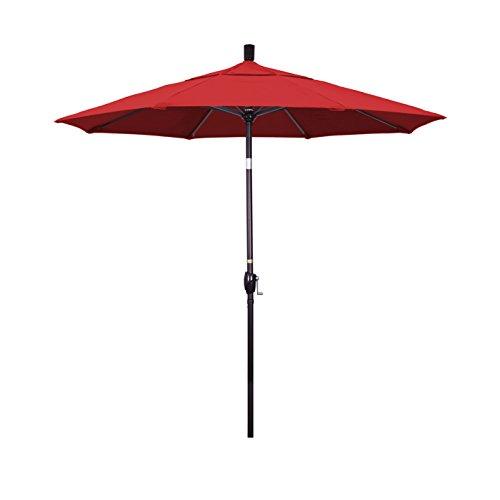 Octagonal Sunbrella Market Umbrella - California Umbrella 7.5' Round Aluminum Market Umbrella, Crank Lift, Push Button Tilt, Bronze Pole, Sunbrella Jockey Red