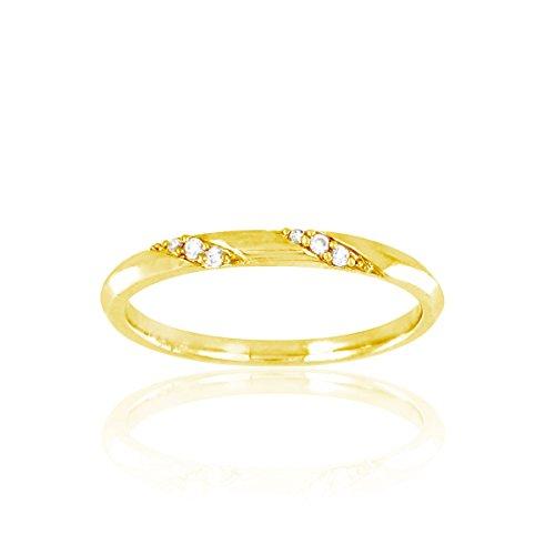 Tous mes bijoux - BADM02104 - Duos - Alliance Femme - Or jaune 375/1000 1.6 gr - Diamant 0.03 cts