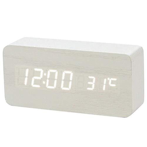 AMZIJ Reloj Despertador Reloj Despertador de Madera LED Reloj de ...