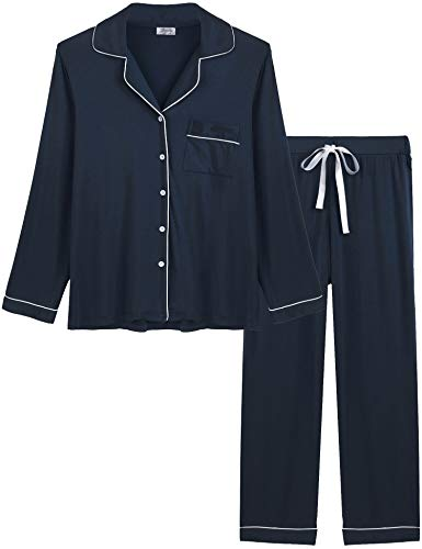 Joyaria Ladies Soft Pajama Sets Button Up Jersey Knit Lounge Pj Pants Set Winter Sleepwear (Navy, Large)