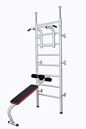Espaldera de pared, para dominadas y abdominales, color blanco: Amazon.es: Deportes y aire libre