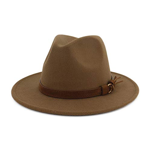 Felt Large Brim Hat - Lisianthus Men & Women Vintage Wide Brim Fedora Hat with Belt Buckle Khaki 59-60cm