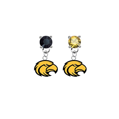 Southern Mississippi Golden Eagles Black & Gold Crystal Stud Post Dangle Earrings