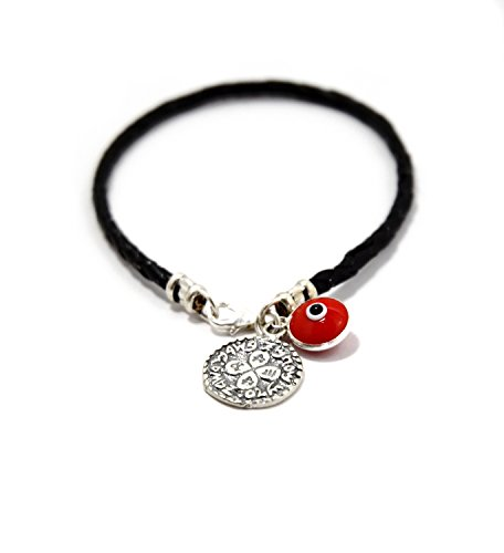 Braided Leather and Silver King Solomon Love Amulet and Evil Eye Charm Bracelet for Men -