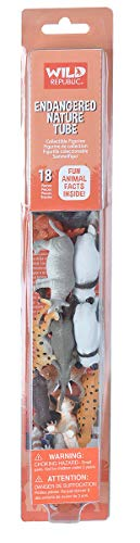 Wild Republic Endangered Animals Nature Tube, Toy Figures, Tube Animals, Kids Gifts, Endangered Animals, Panda, Rhino, Tiger and more, 18-Piece